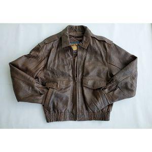 Adventure Bound Vtg Bomber Leather Jacket